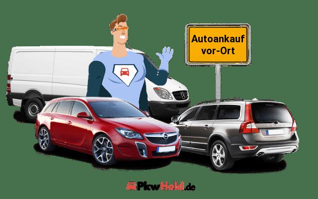 Autoankauf 3 autos und ein Verkehrsschild